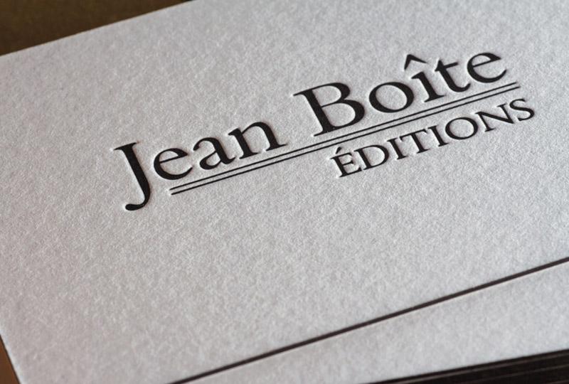 Cartes De Visite JEAN BOITE Editions Impression Letterpress