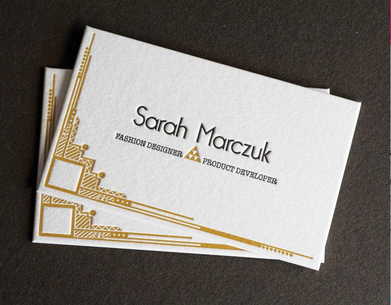 Cartes De Visite Letterpress Fashion Designer Impression