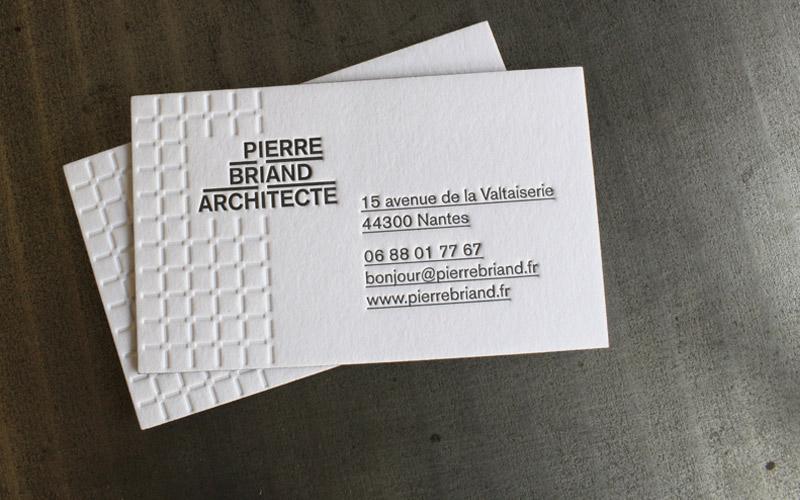 CARTE DE VISITE LETTERPRESS PIERRE BRIAND ARCHITECTE Impression Cartes De Visite