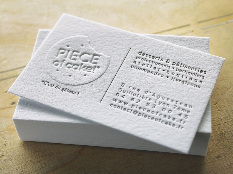 CARTE DE VISITE LETTERPRESS Gaufrage PIECE OF CAKE