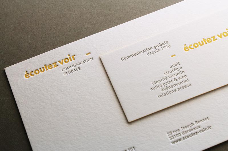 Carte De Visite Letterpress Coutez Voir