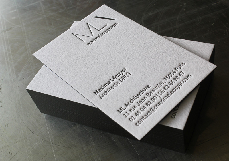 Carte De Visite Letterpress ML Architecture Impression